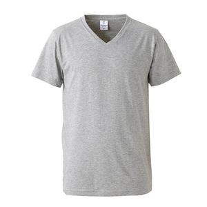 深すぎす浅すぎないVネックTシャツ2枚セット (ホワイト+ヘザーグレー) L
