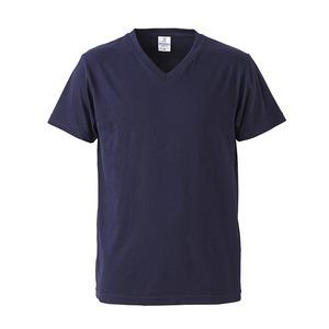 深すぎす浅すぎないVネックTシャツ2枚セット (ネイビー+ネイビー) L