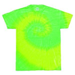 レインボーマルチカラー タイダイTシャツ L イエローライム h01