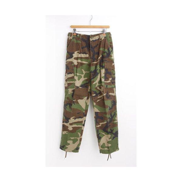 アメリカ軍 BDU カーゴパンツ /迷彩服パンツ Lサイズ  リップストップ YN521007 ウットランド  レプリカ
