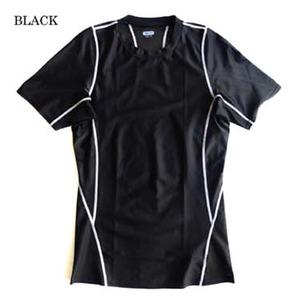 スリムフィットコンプレッションアメリカ軍タクティカルトレーニング吸汗速乾シャツ半袖レプリカ ブラック M