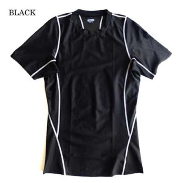 スリムフィットコンプレッションアメリカ軍タクティカルトレーニング吸汗速乾シャツ半袖レプリカ ブラック XL