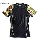 スリムフィットコンプレッションアメリカ軍タクティカルトレーニング吸汗速乾シャツ半袖レプリカ ウッドランド M