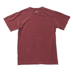 50回ウォツシュ加工ガーメント後染め6.2オンスヘビーウェイトTシャツ クリムゾン L h01