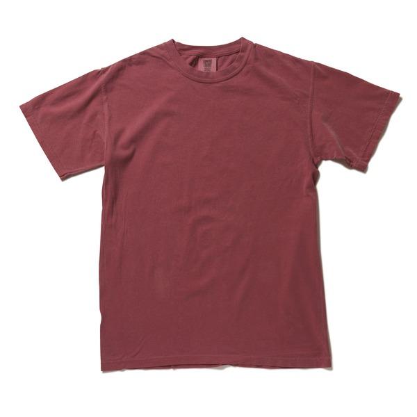 50回ウォツシュ加工ガーメント後染め6.2オンスヘビーウェイトTシャツ クリムゾン Lf00