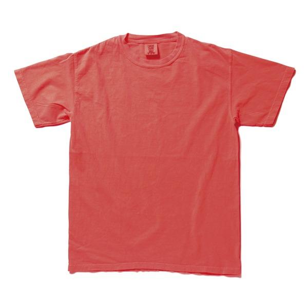 50回ウォツシュ加工ガーメント後染め6.2オンスヘビーウェイトTシャツ ネオンレッドオレンジ Lf00