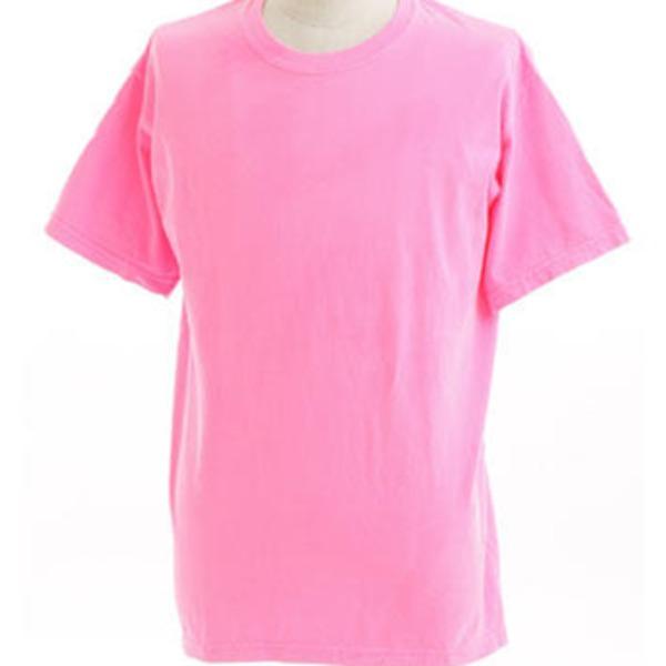 50回ウォツシュ加工ガーメント後染め6.2オンスヘビーウェイトTシャツ ネオンピンク Lf00