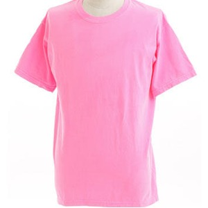 50回ウォツシュ加工ガーメント後染め6.2オンスヘビーウェイトTシャツ ネオンピンク M