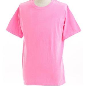 50回ウォツシュ加工ガーメント後染め6.2オンスヘビーウェイトTシャツ ネオンピンク S