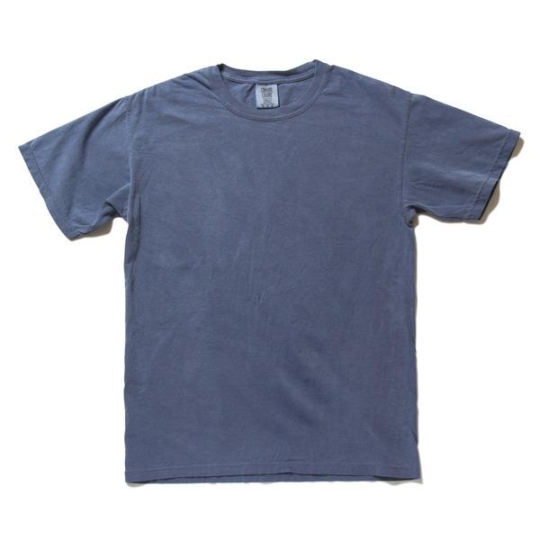 50回ウォツシュ加工ガーメント後染め6.2オンスヘビーウェイトTシャツ ブルージーン XLf00