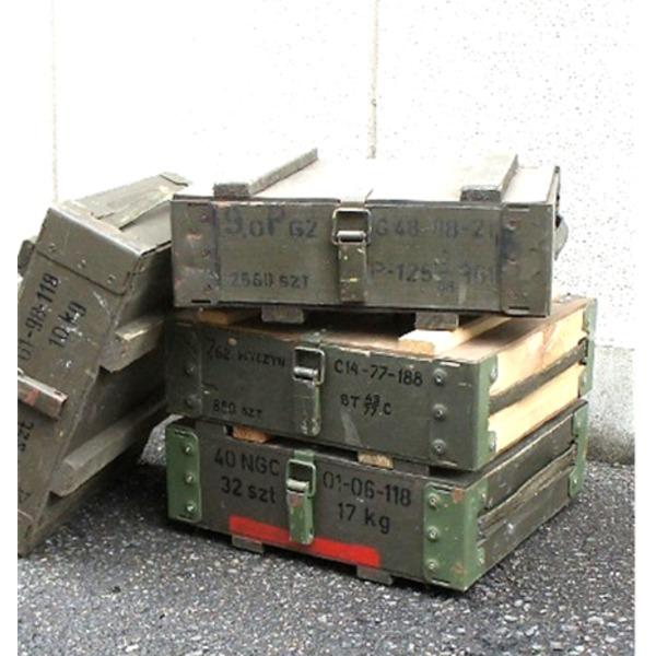 ポーランド軍放出 アンモボックス ウッドメタルフレームオリーブ中古