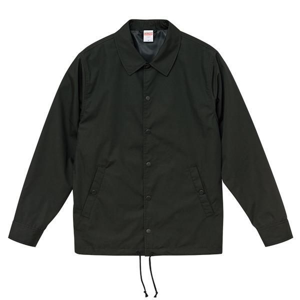 カリを抑えた綿混・撥水加工、防風加工、裏地付コーチジャケット ブラック Mf00