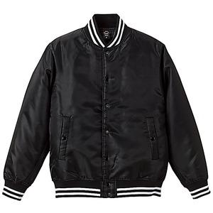 撥水・防風・中綿入りスタジャン S ブラック/ホワイト h01