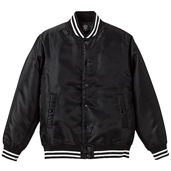 撥水・防風・中綿入りスタジャン XL ブラック/ホワイトf00