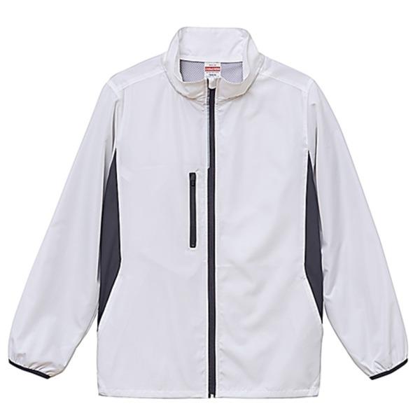 シャカシャカと音がしない撥水&防風加工・リフレクター・裏地付スタンドジップジャケット ホワイト XLf00
