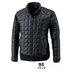 マイクロリップブロック中綿キルティング両脇フリース防寒ジャケット ブラック Lの画像