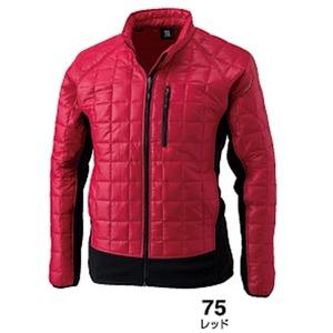 マイクロリップブロック中綿キルティング両脇フリース防寒ジャケット レッド M 商品画像