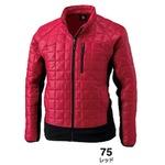 マイクロリップブロック中綿キルティング両脇フリース防寒ジャケット レッド Mの画像