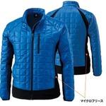 マイクロリップブロック中綿キルティング両脇フリース防寒ジャケット ロイヤルブルー Lの画像
