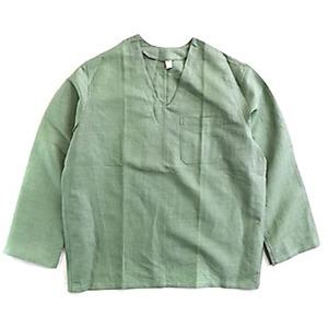 ハンガリー軍放出メヂカルパジャマシャツ リネン 未使用デットストック ミントグリーン 48