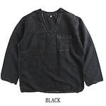 ハンガリー軍放出メヂカルパジャマシャツ リネン 未使用デットストック ブラック染め 48