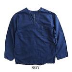 ハンガリー軍放出メヂカルパジャマシャツ リネン 未使用デットストック ネイビー染め 48
