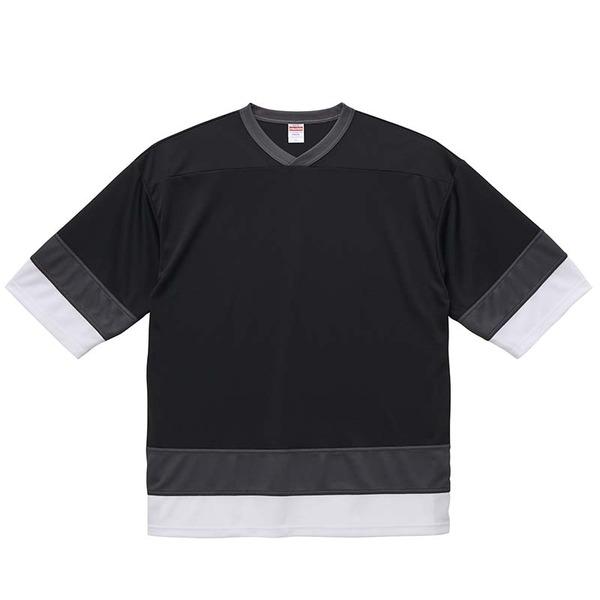 UVカット・吸汗速乾・4.1オンスホッケーTシャツ L ブラック/ガンメタル/ホワイト
