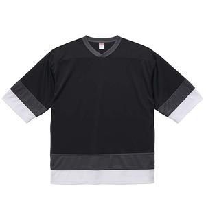 UVカット・吸汗速乾・4.1オンスホッケーTシャツ S ブラック/ガンメタル/ホワイト