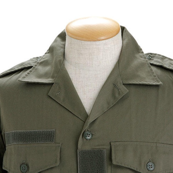 フランス軍放出 チャドシャツ( トロピカル半袖シャツ) 【Sサイズ 】 ヘリボーン生地 ブラック 〔未使用デッドストック〕