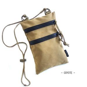 ミリタリー裏防水布ポリエステル600デニール使用ネックポーチコヨーテ