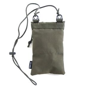 ミリタリー裏防水布ポリエステル600デニール使用ネックポーチ ウッドランド