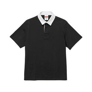 8.3オンス吸汗速乾空紡糸使用ラガーシャツ半袖ブラックM