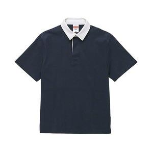 8.3オンス吸汗速乾空紡糸使用ラガーシャツ半袖ネイビーM