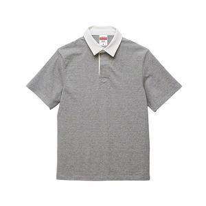 8.3オンス吸汗速乾空紡糸使用ラガーシャツ半袖ミックスグレーXL