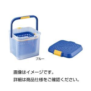 【訳あり・在庫処分】(まとめ)カゴ付バケツ ブルー【×3セット】