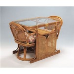 天然籐ダイニング3点セット (360度回転座椅子2脚/棚付き強化ガラステーブル)