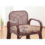 天然籐思いやり座椅子 【ロータイプ】 座面高/約24cm 肘付き 軽量タイプ