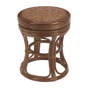 天然籐回転スツール 丸型 木製 高さ39cm アジアン調 ブラウン - 拡大画像