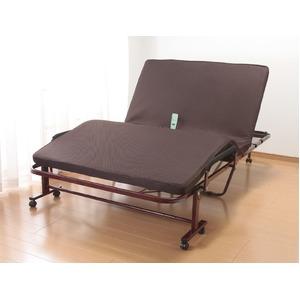 折りたたみセミダブルベッド/立座り楽ちん電動リクライニングベッド 低反発マット キャスター付き  - 拡大画像