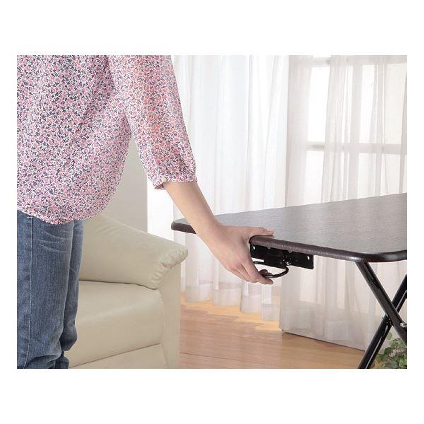 折りたたみテーブル/昇降式フリーテーブル 木製/スチール 高さ無段階調節可 ブラウン 【完成品】2
