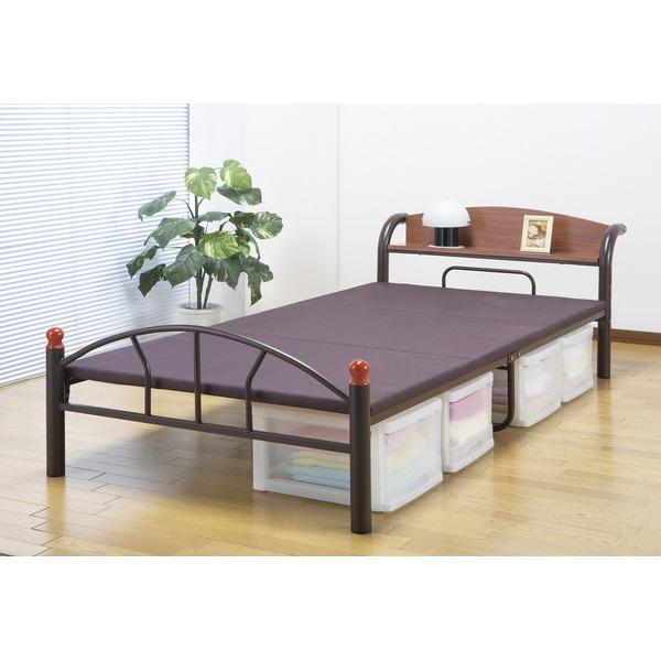 収納ベッドシングル通販 パイプ収納ベッド『木製棚付き(宮付き)パイプベッド 【シングルサイズ】』