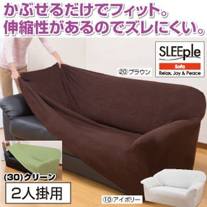 伸縮フィット式ソファーカバー(ヨコストレッチ) 【2人掛け用/ アイボリー】 洗える