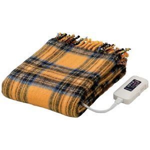 かわいい電気ひざ掛け毛布 ダニ退治機能/室温センサー付き 洗濯可 日本製 長方形 82cm×140cm イエロー(黄)