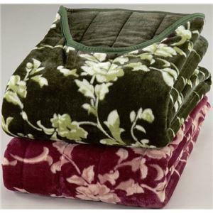 綿入りくりえり毛布 【シングルサイズ】 テイジンRウォーマルR使用マイヤー2枚合せ グリーン(緑) - 拡大画像