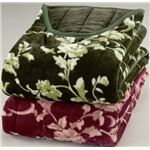 綿入りくりえり毛布 【シングルサイズ】 テイジンRウォーマルR使用マイヤー2枚合せ グリーン(緑)
