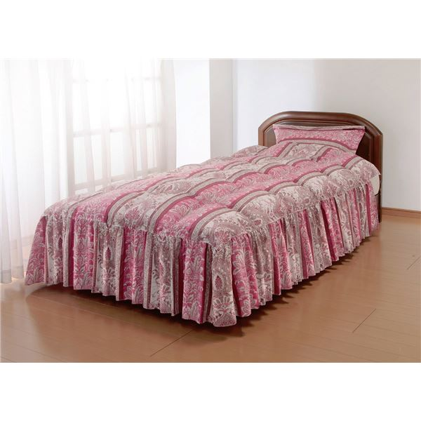 やわらかフェザーフリル付きベッド布団セミダブルピンク(枕カバー付き)