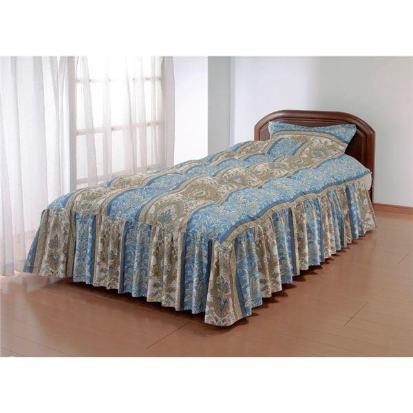 やわらかフェザーフリル付きベッド布団セミダブルブルー(枕カバー付き)