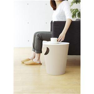 ゴミ箱付サイドテーブル ベージュ 日本製