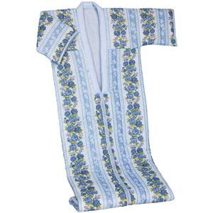 綿ガーゼ花柄かいまきブルー - 拡大画像