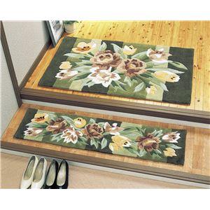 天津フックカービング玄関マットグリーン系30×150cmあがりかまち - 拡大画像